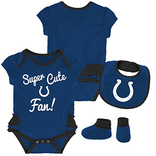 NFL by Outerstuff NFL Indianapolis Colts Newborn & Infant Mini Trifecta Bodysuit, Bib, and Bootie Set Speed Blue, 6-9 Months (Bib Baby Colts Indianapolis)