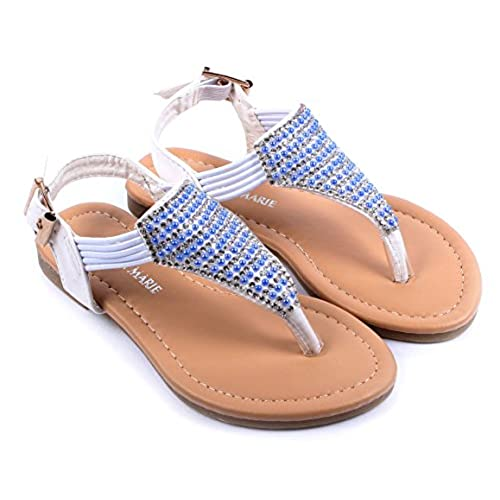 White Ankle Strappy Buckle Girls Rhinestone Gladiators Kids Sandals Youth Shoes