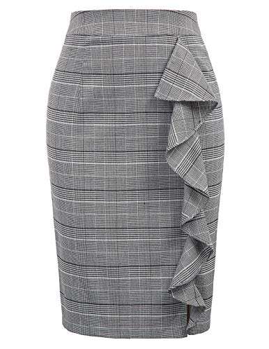 Wear Plaid Skirt - Women's Ruffle Knee Length Plaid Pencil Skirt for Office Wear L Plaid