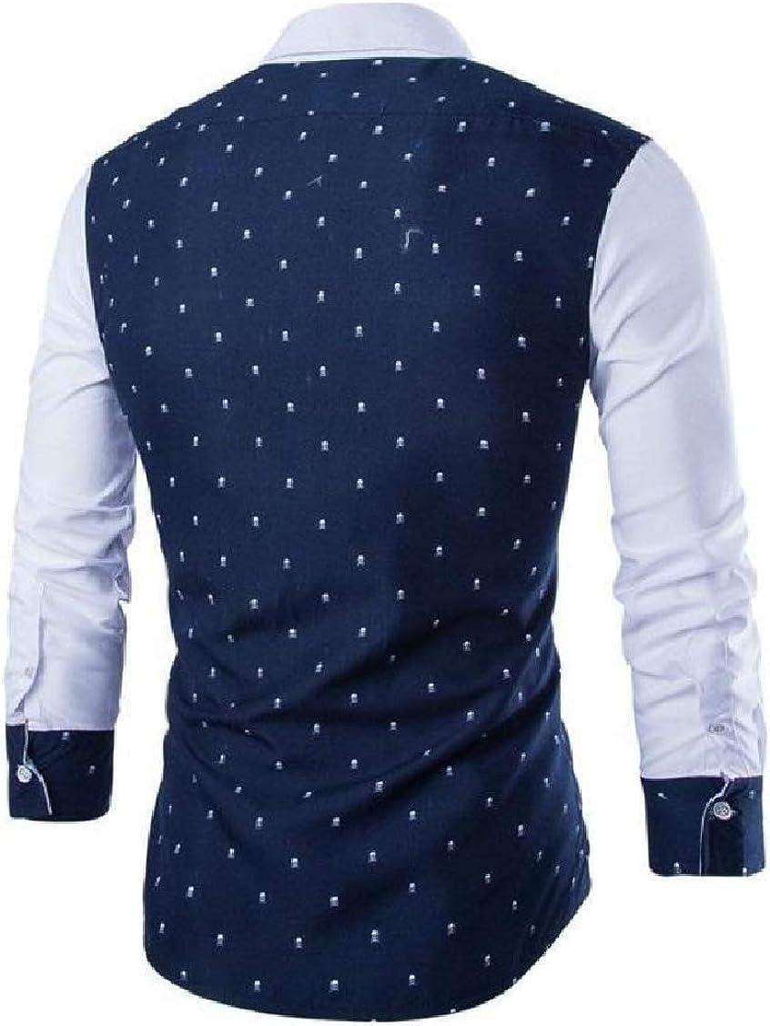 Sayhi Mens No-Iron Printing Turn Down Long Sleeve Business Button Down Shirts