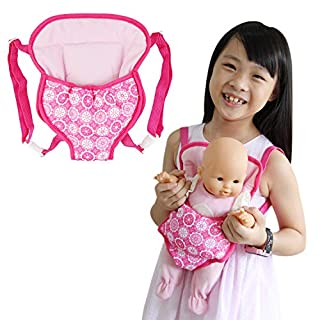 ZITA ELEMENT Baby Doll Carrier 14 - 16 Inch Doll Backpack for American 18 Inch Girl Doll Carrier and Other 18 Inch Doll Carrier Backpack - Both Front and Back Side Available, Straps Length Adjustable