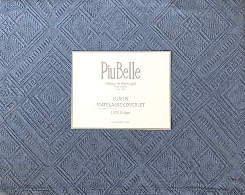 (Piu Belle Portugal Solid Blue Matelasse Bedspead Coverlet with a Textured Woven Geometric Diamond Pattern (Queen))