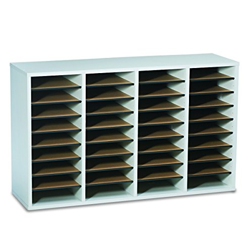Safco Products 9424GR Wood Adjustable Literature Organizer, 36 Compartment, (Goddess Shell)