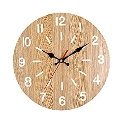 Giulot Roman/Arabic Numeral Quartz Fan-Shape Wall Clock Non Ticking 12 inch Vintage Large Wood Carving Wall Clock Battery Operated Decorative for Bedroom Kitchen Living Room Cafe Kid's Room Decor