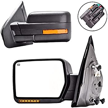 dedc towing mirrors ford f150 ford tow mirrors 2007 2014 pair power heated turn. Black Bedroom Furniture Sets. Home Design Ideas