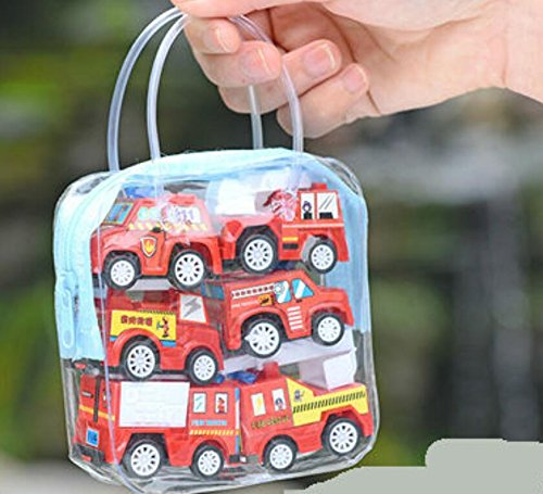 WWUUOOPRT Jouets de développement précoce pour enf Mini modèle de Voiture d'ingénierie de 6 Pcs Enfants Pull Back Car Suit (Camion de Pompier)