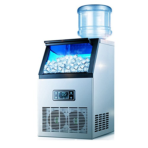 Ice Maker Machine, 230W Stainless Steel Portable Digital Screen Clear Cube Ice Making Machine Air Cooled Cube Commercial Ice Maker Machine for Restaurant Home Bar (USA Stock)