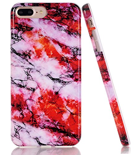 iPhone 7 Plus Case, Red Colourful Marble Creative Design, BAISRKE Slim Flexible Soft Silicone Bumper Shockproof Gel TPU Rubber Glossy Skin Cover Case for iPhone 7 Plus & iPhone 8 Plus