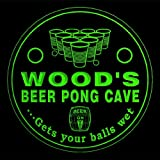 4x ccqr1078-g WOOD'S Beer Pong Cave Game Bar Beer 3D Engraved Drink Coasters