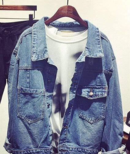Tasche Casual Jeans Giaccone nbsp; 4 Anteriori Bavero Cappotto Lunga Giacche Unisex Giovane Blue Moda Baseball Confortevole Outerwear Stampato Autunno Digitale Donna Manica Elegante FUxxnT6
