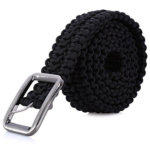 Tactical Waist Belt Survival Woven Belt For Camping, Hunting, Hiking, and Other Outdoor Activities(Can be Unraveled into a 28 Meters Parachute Cord,Pulling Force:550lbs) (BLACK)