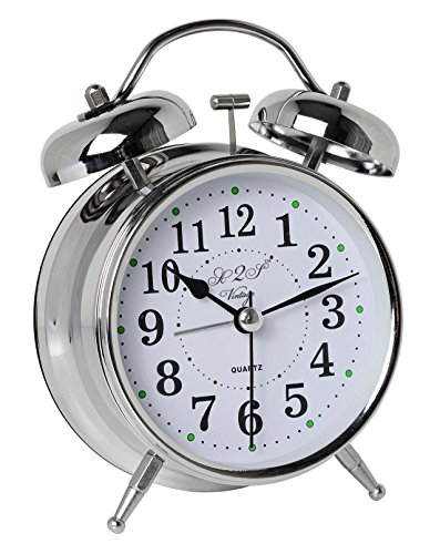 A2S Vintage Style Alarm Clock - Twin Bell, Analog & Battery Operated - Great for Heavy Sleepers and Travel (Silver -