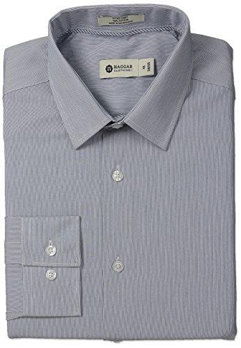 Mini Point Collar Dress Shirt (Haggar Men's Mini Stripe Point Collar Regular Fit Long Sleeve Dress Shirt, Blue, 17x32/33)