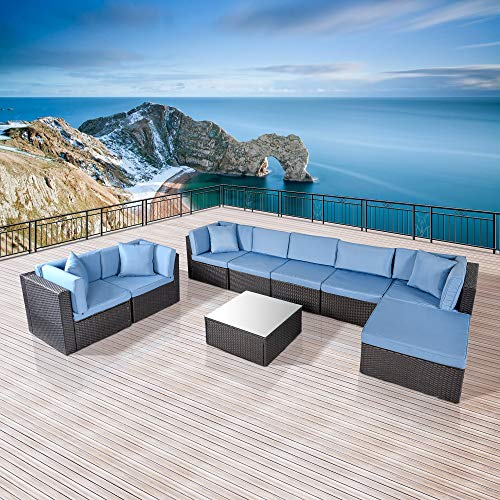 ECOLINEAR Outdoor PE Wicker Rattan Sofa Patio Sectional Furniture Set w/Blue Seat & Back Cushions and Throw Pillows, Black Conversation Set (9 Piece-B)