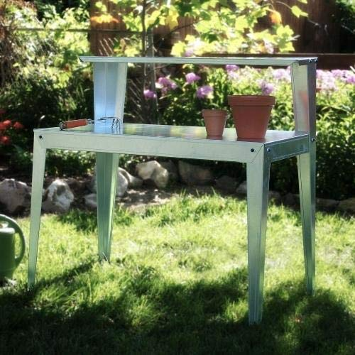 (StarSun Depot Galvanized Steel Potting Bench Garden Workstation Rack Table)