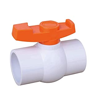 SHMONO 2'' Inline PVC Ball Valve, Compact T-Handle Water Shut-Off Valves, Socket Valve for Irrigation and Water Treatment, 2'' Slip [Available 3/4'',1'',1.25'',1.5'']