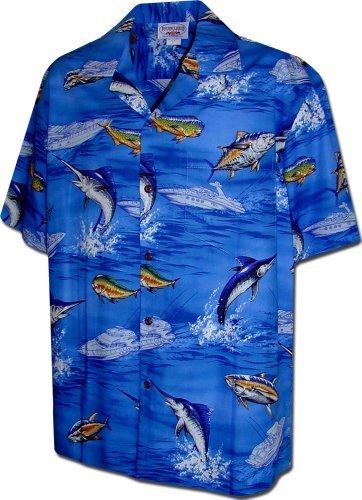 Blue Marlin Fish - Pacific Legend Marlin Fish Tropical Shirts in Blue XL