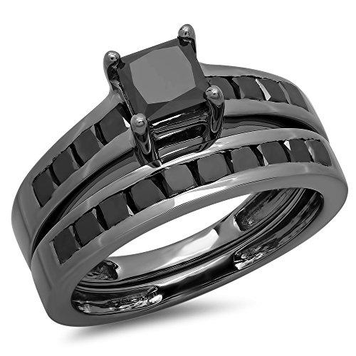 Dazzlingrock Collection 2.35 Carat (ctw) Black Rhodium Plated Sterling Silver Black Diamond Engagement Ring Set, Size 7