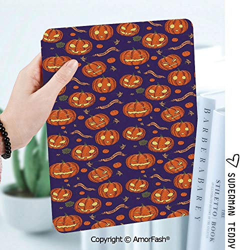 Slim Shell Case for Samsung Galaxy Tab A 8.0 2017 Model T380/T385,Halloween Pumpkins Pattern Different Face Expressions Happy Angry Scary Puzzled