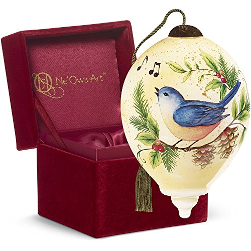 "Ne'Qwa Art, Twelve Days of Christmas, Four Calling Birds"" Artist Susan Winget, Petite Princess-Shaped Glass Ornament, 7161143"
