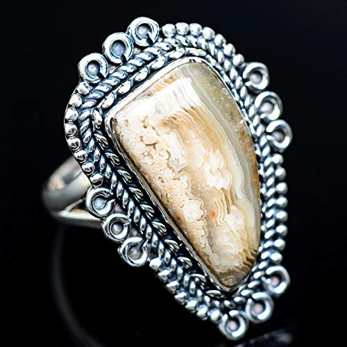 - Ana Silver Co Large Laguna Lace Agate Ring Size 9.25 (925 Sterling Silver) - Handmade Jewelry, Bohemian, Vintage RING943777