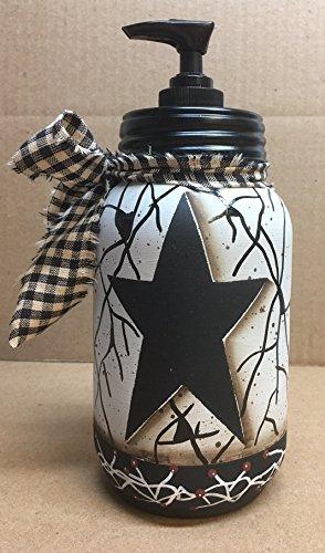 Primitive Black Star Pip Berry Vine Faux Crackled Quart Soap (Lotion Dispenser Loft)