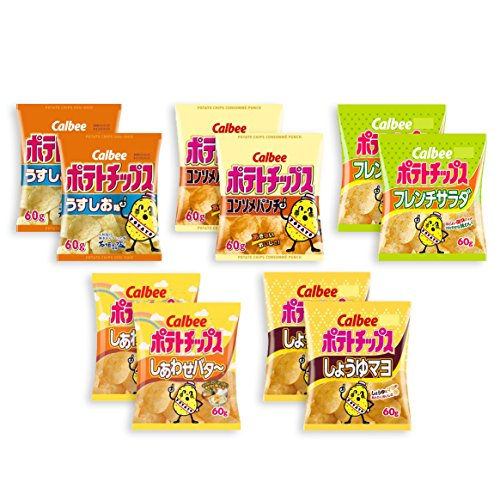Calbee Standard Potato Chips 10 Packs Assortment Set (Lightly Salted, Consommé Punch, French Salad, Happy Butter, Soy Sauce & Mayonnaise: each 2) Ninjapo Wrapping (Salted Soy Sauce)