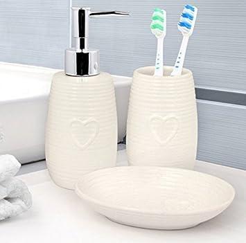 Acanalado diseño de corazones 3 piezas Juego de accesorios para baño - jabonera - dispensador de jabón líquido - soporte para cepillos de dientes: ...