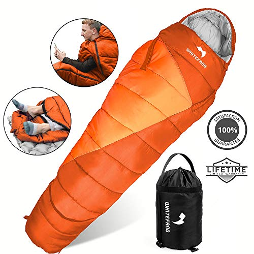 WhiteFang Sleeping Bag with Compression Sack,Portable Lightweight and Waterproof for Adults & Kids,3-4 Season Mummy Sleeping Bags Great for Hiking, Backpacking,Camping and Outdoor