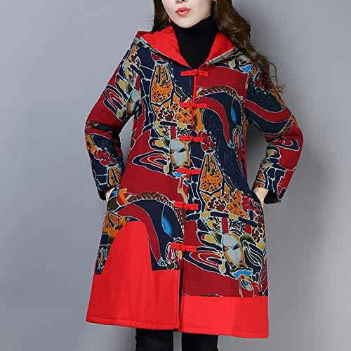 Manches Niais Floral Femmes Imprimé Manteau Long Red En Lin Longues Coton À De Pour wqSqXCR