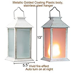 """13"""" Vintage Style Solar Powered Candle Lanter"""