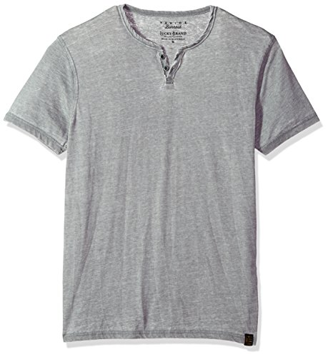 Lucky Brand Men's Burnout Notch Neck Tee, Frost Grey, XL