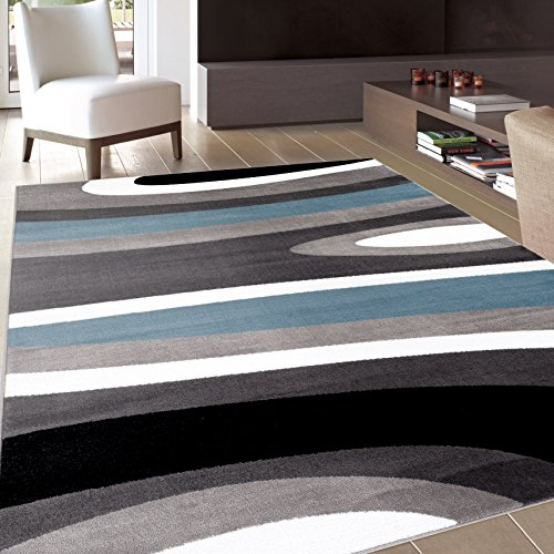 Abstract Contemporary Modern Blue Area Rug 7′ 10″ X 10′ 2″