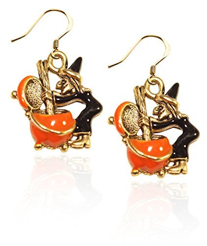 Witch Charm Earrings in Gold by Whimsical Gifts