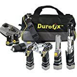 Durofix Li-Ion 12V 4-in-1 Combo, Impact/Drill/Ratchet/LED Light with 2 Batteries And Tool Bag