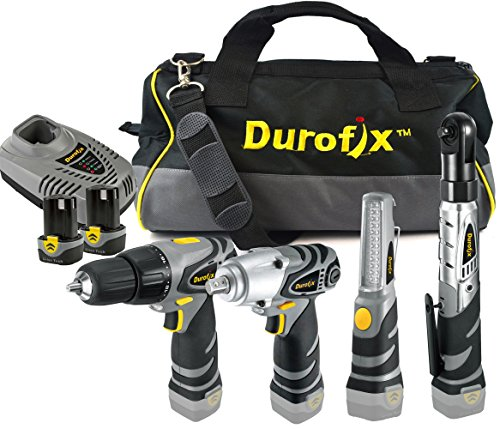 [Durofix RD1295WIL 12-Volt Li-ion 4 Tools Combo Kit (Impact Wrench/Ratchet/Drill/LED Light + Tool Bag)] (Ratchet Wrench Kit)