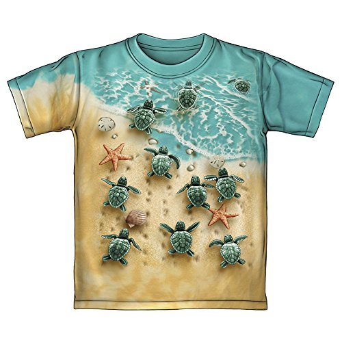 - Turtles on The Beach Tie-Dye Youth Tee Shirt (Small 6/7) Green