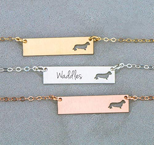 Long Coat Dachshund Dog BAR Necklace - IBD - Teckel - Layering Charm - Personalize Name Date - 935 Sterling Silver 14K Rose Gold Filled - Fast 1 Day Production