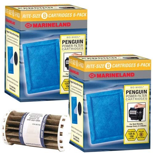 Penguin Marineland BIO-Wheel 150 & 125 Replacement Filter Cartridge 12-Pack & Bio-Wheel Assembly Bundle