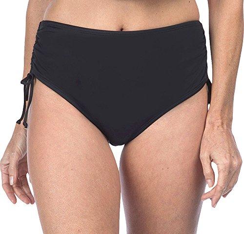 Ocean Avenue Women's Solid Adjustable High-Waist Bikini Bottom, Black, Medium