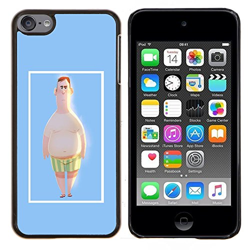 # Hart Schutzhülle PC Tasche Hülle HandyHülle Slim Hard Protective Case forApple iPod Touch 6 6th Touch6 # Man Strandshorts Pale White Big Belly Kunst Man Beach Shorts Pale White Big Belly Art# Gift Phone Case Housing #