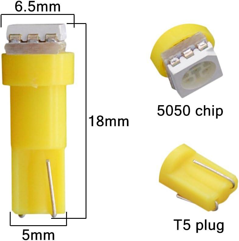 KATUR T5 70 73 74 79 85 86 206 406 LED Bulbs 5050 1SMD White 1W 12V Car Interior Instrument Cluster Gauge LED Lights Dashboard Signal LED Bulbs Pack of 20
