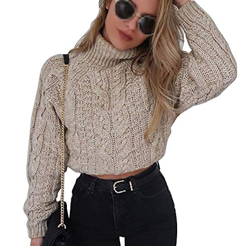 Crop Cable - Pevor Womens Casual Turtleneck Long Sleeve Chunky Fall Winter Pullover Jumper Knited Sweater Crop Tops Khaki XL