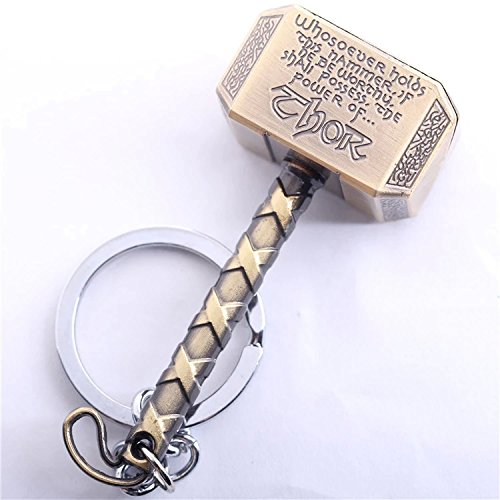 Zinc Alloy Marvel Comics Avengers Thor Hammer Pewter Key Ring Retro Key Chain Gift Pendant (Gold)