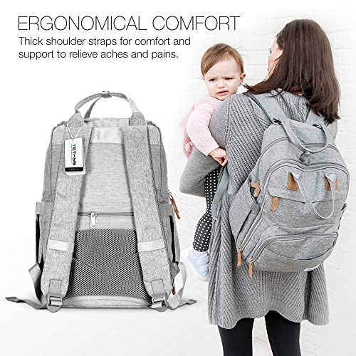 51ph9TN 44L TETHYS Diaper Bag Backpack [Multifunction Waterproof Travel Back Pack] Maternity Baby Nappy Changing Bag Ideal for Mom and Dad, Large Capacity and Stylish Organizer for Baby Care - Gray    Product Description