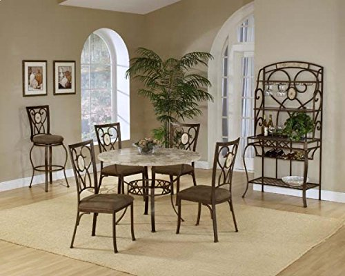 Back Powder Coat - Hillsdale Brookside Round 5-Piece Dining Set with Oval Back-Chairs, Brown Powder Coat Finish, Set Includes 1-Table and 4-Chairs