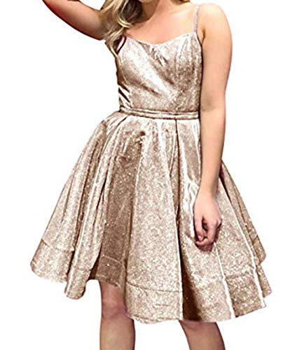 WIYMSHZ Sparkly Glitter Homecoming Dresses with Pockets Short Prom Party Gowns for Juniors