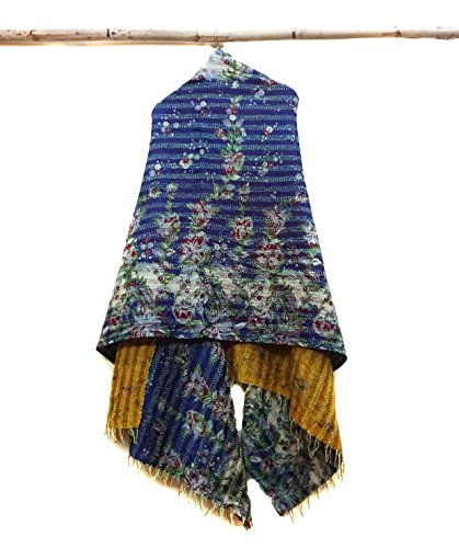 Silk Scarf Neck Wrap Stole veil Kantha Embroidered Scarf Veil Boho Scarves