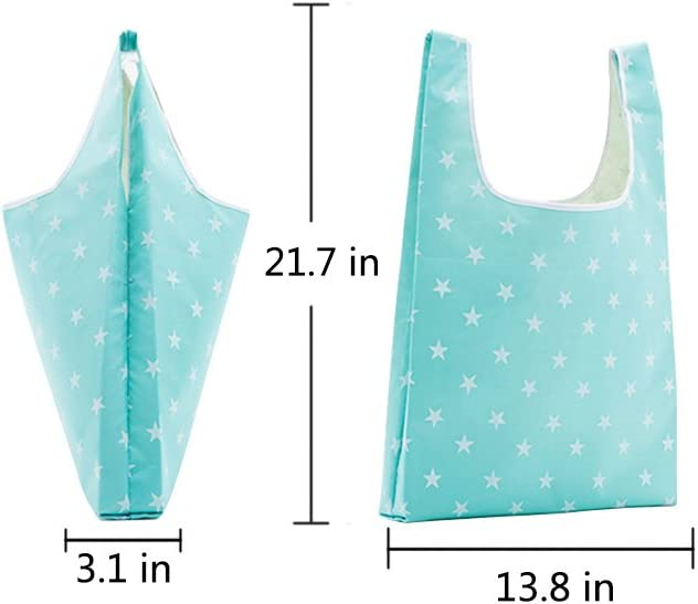 6pcs Reusable Grocery Bags Foldable Polyester Shopping Travel Bags Portable Shoulder Pouch for Space Saving,Lightweight,Durable