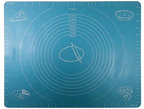 Better Kitchen Products Extra Large Silicone Rolling Mat Pastry Mat With Measurements-Reusable and Non-Stick, Light Blue